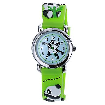Citron KID140 Analogue Kids 3D Panda Motiff Lime Green Silicone Strap Watch