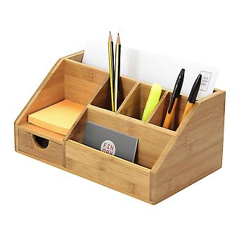 Woodquail Bamboo Stationery Organiser Letter Rack Notes Pen Pencil Holder