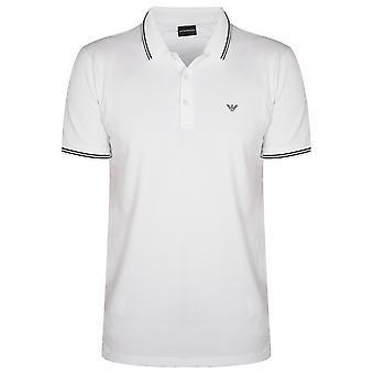 Emporio Armani White & Blue Polo Shirt