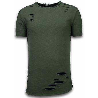 Damaged Look Shirt-Long Fit T-shirt-Green