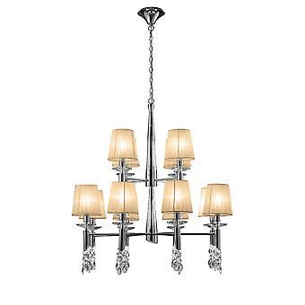 Mantra M3850 Tiffany hänge 2 Tier 12 + 12 Light E14 + G9, polerad krom med mjuka brons nyanser & Clear Crystal