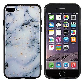 BackCover Marble Glitter voor Apple iPhone 8 Plus - 7 Plus Blauw