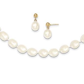 14 k Yellow Gold Dangle Pearl gesp Post oorbellen wit aardappel zoetwater Cultured Pearl 18 inch ketting en oorbellen Set