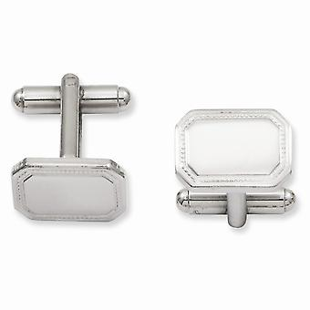 Solide Gift Boxed Engravable (alleen voorzijde) Rhodium-plated gepolijst rechthoek Manchetknopen
