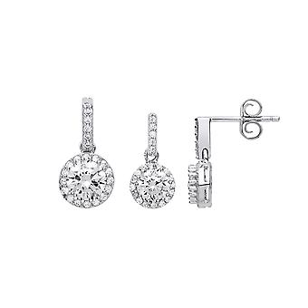 Jewelco London Ladies Rhodium Plated Sterling Silver white round brilliant Cubic Zirconia Halo Earrings Necklace Set