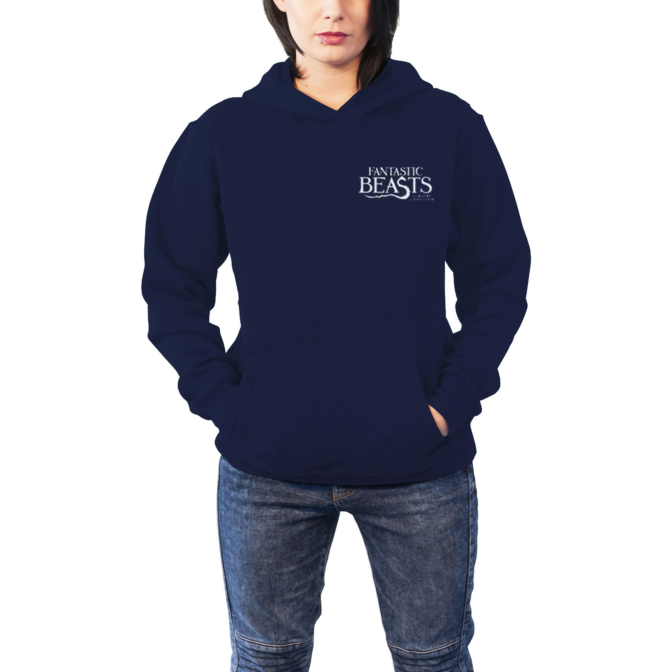 Fantastiska Beasts hoodie Macusa logo nya officiella Womens Slim Fit blå Pullover