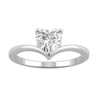 14K valkoinen kulta Moissanite by Charles & Colvard 6mm Heart Solitaire Engagement Ring, 0,80 CT kaste