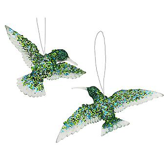 Gisela Graham Clear Embellished Hummingbird Hanging Bauble Ornament