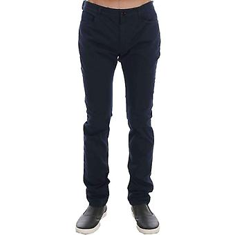 Blue Cotton Stretch Slim Fit Pants -- TSH1938032