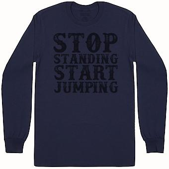 Stop staande start Jumping-mens lange mouw T-shirt