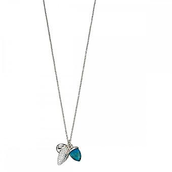 Elements Silver Turquoise Acorn And Leaf Necklace N4295T