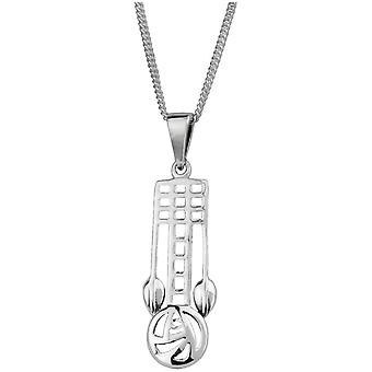 Charles Rennie Mackintosh Art Nouveau Glasgow Rose / Lattice Motif Collana Pendente - Include una catena 18>quot; Silver Chain