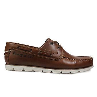 Bugatti 321-69201 cuero marrón hombres encaje Up Deck zapatos