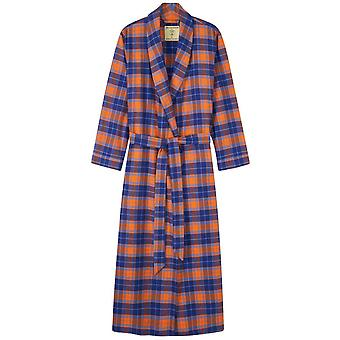 British Boxers Tangerine Dream Two Fold Flannel Robe - Orange/Blue
