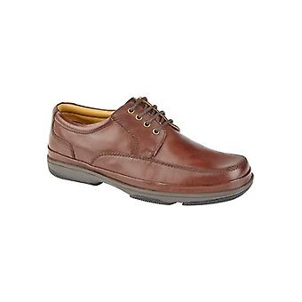 Roamers Percy Mens Wide Fit Leather Smart Shoes Brown