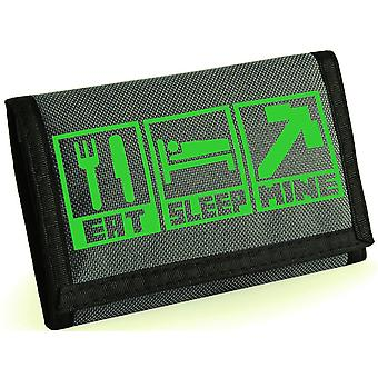 Eat, sleep, mine kids velcro wallet