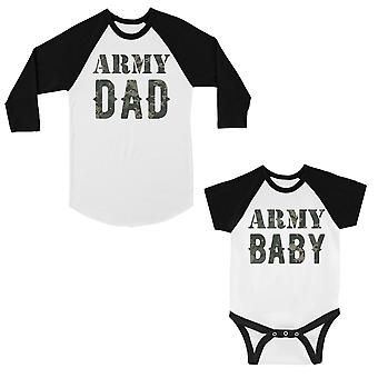 Army Dad Army Baby Dad Baby Matching Baseball Shirts Fun Father Day
