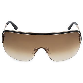 Tom Ford Gianna Semi-Rimless Gafas de Sol FT0138 28F 00 Marco de Esmalte Negro (Black Enamel Frame) Lentes de Degradado Marrón