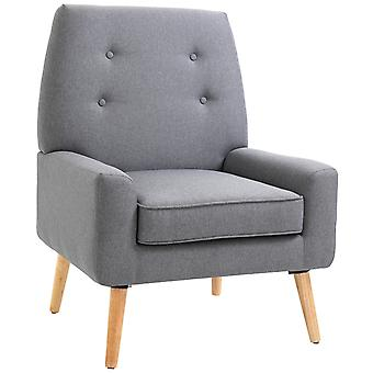 HOMCOM Nordic Single Cushion Padded Chair Wooden Armchair  Button Tufted Seat Sponge Scandinavian Living Room Bedroom Co