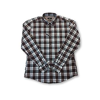 HUGO BOSS Reid slim fit cotton shirt in brown and grey tartan