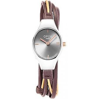 Opex OPW017 Watch - FILANTE Black Leather Bracelet Box Steel Silver Women's
