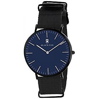 Montre Black Oak BX9600B-005 - Tissu Noir Boitier Acier Noir Cadran Bleu Homme