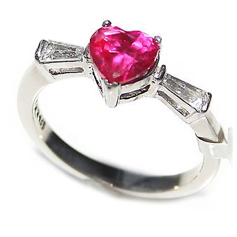 Ah! Jewellery Women's 6mm Ruby Heart Cubic Zirconia Steel Ring