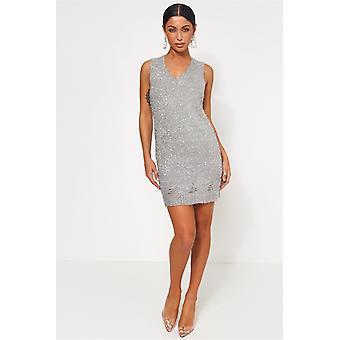 Nilu Distressed Lurex Knitted Dress