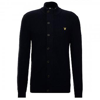 Lyle & Scott Navy Knitted Zip Through Funnel Neck Cardigan KN1107V