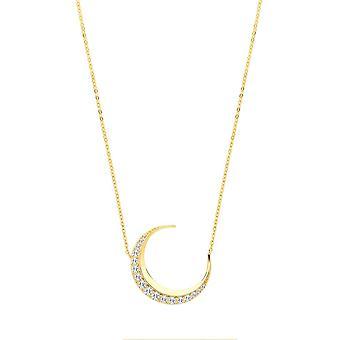 Eternity 9ct Gold Cubic Zirconia Crescent Moon Necklet