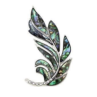 جمع الأبدية Paua لعاب الشمس شل لهجة الفضة الريش دبوس