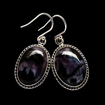 Boucles d'oreilles en pierre de Gabbro 1 1/2 quot; (925 Sterling Silver) - Bijoux Boho Vintage faits à la main EARR396935