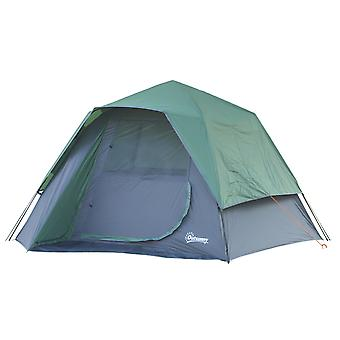 Outsunny 4 Man Pop-Up Tent w/ Rainfly Inner Hook 3 Windows Zipped Door Storage Bag Accessories 160x270cm