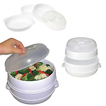 Kabalo 2 Tier Microwave Vegetable Steamer Kitchen Cooker Healthy Cooking Pot