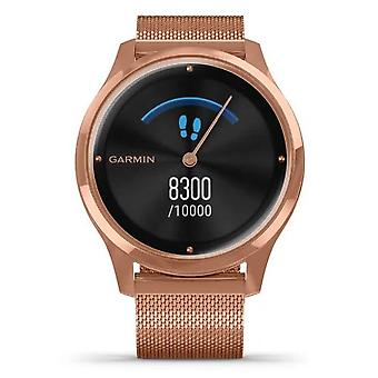 Garmin 010-02241-04 Vivomove Luxe 18k Rose Gold Pvd Stainless Steel With Rose Gold Milanese Mesh Strap Watch