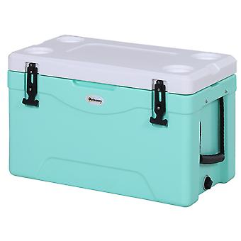Outsunny 38L Cooler Box Insulated Picnic Ice Chest Camping Food Drink Box w/ Locks Gasket Seal Hot Cold Thick Plastic Festivals Nylong Handles Green