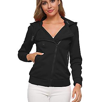 Ayans Womens Casual Slim Fit Oblique Zipper Hoodie High, 001-black, Size Small