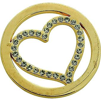 TOC Goldtone Rhinestone Heart Coin for Interchangeable Locket Pendant