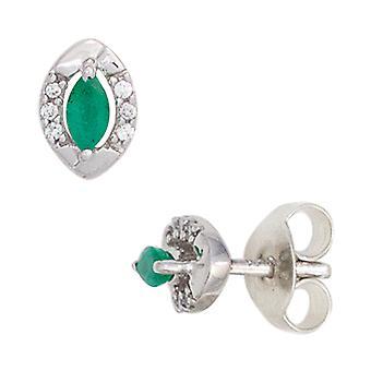 333 Stud Earrings White Gold 2 green emeralds 12 diamonds brilliant earrings gold