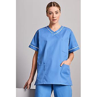 SIMON JERSEY Unisex Smart Scrub Top, Hospital Blue With White Trim