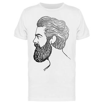 Hand Drawn Sketch Bearded Man Tee Men's -Image by Shutterstock