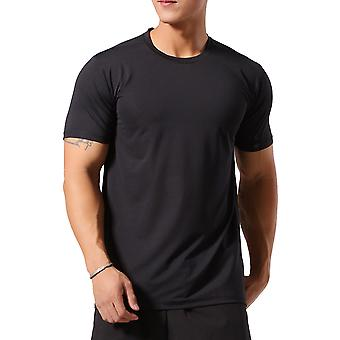 Allthemen Men's Round Neck Solid Color Loose Stretch Short T-Shirt