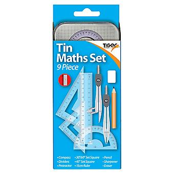 Tiger Stationery 9 Piece Tin Maths Set