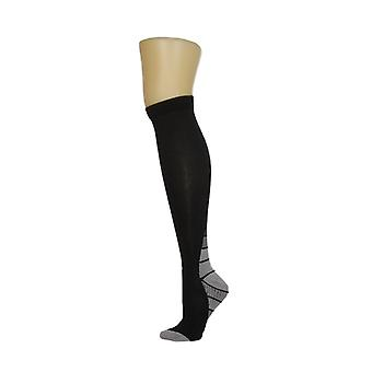 North Style Women's Knee Hi With Contrast Color Trim Black Socks