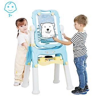 2 IN 1 Kids Double Sided Art Easel Height Adjustable Magnetic Drawing Board Blue