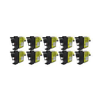 RudyTwos 10x Replacement for Brother LC-980Y Ink Unit Yellow Compatible with MFC-250C, MFC-255CW, MFC-290C, MFC-295CN, MFC-297C, MFC-490CN, MFC-5490CN, MFC-5890CN, MFC-790CW, MFC-795CW, MFC-6490CW, MF