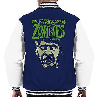 Hammer The Plague av zombies Face poster mäns Varsity jacka
