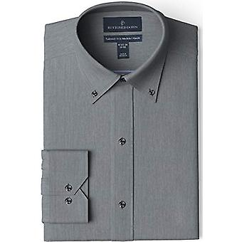 """BUTTONED DOWN Men's Tailored Fit Button-Collar Solid Non-Iron Dress Shirt, Charcoal Heather 17"""" Neck 35"""" Sleeve"""