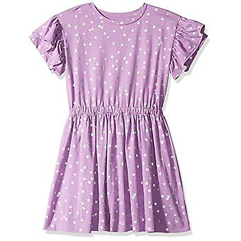 LOOK by Crewcuts Girls' Ruffle Sleeve Dress, Purple Star, X-Small (4/5)