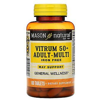Mason Natural, Vitrum 50+ Adult-Multi, Iron Free, 100 Tablets